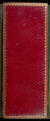 Red, straight-grained Morocco leather portfolio with gilt stamped edges and lettering; green Morocco leather lining; accordion-pleated structure containing 14 panels with 10 samples on each panel and a top panel of red straight-grained Morocco leather; 16 panels of 10 samples each on other side. Samples are plain and twill weave wool, wool and cotton twills, cotton cloths and twills; some sized and printed with fine check print. Made in: France. Date: 1800s. Record ID: chndm_1951-129-1.