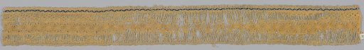 Strip of insertion with undyed linen framework with central band of rosettes in yellow silk; blue and yellow silk guard stripe. Much of the silk is worn away. Date: 1800s. Record ID: chndm_1951-134-5-c.