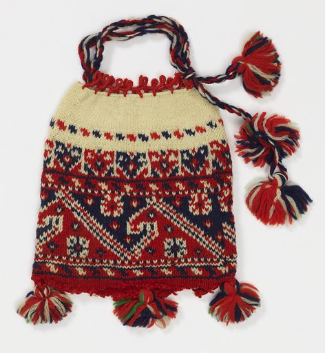Bag knitted in stockinette stitch, with a drawstring at the top; now open at bottom. Deep band of decoration in red and blue on a white ground. Three tassels attached to the bottom. Red, white and blue plaited cord at top, ending in two tassels. Date: 1800s. Record ID: chndm_1951-99-3.