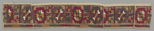 Two borders, probably from sleeve or bottom of dress, worked in silks in red, yellow, orange, white, and outlines of black. Design shows a stylized flower head, with heart-shaped leaves at the center and small leaf-shaped corner designs. Repeat about 3 inches wide, separated by a narrow border of completely stylized smaller flower-head. A bottom border of drawn work, made by whipping groups of threads in similar colors to embroidery, about 1/2 inch wide. Made in: Greece. Date: 1800s. Record ID: chndm_1955-133-31-a_b.