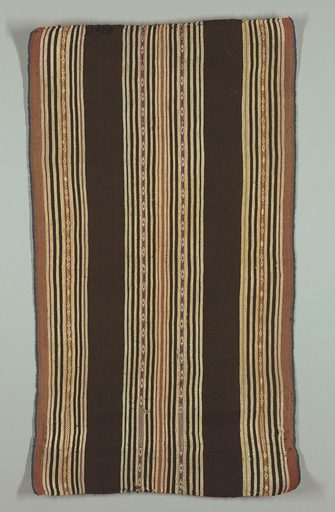 Broad dark brown stripes alternating with groups of cream, tan, yellow, pink, blue, and brown pencil-stripes, with central geometrically decorated stripes in same colors, warp-patterned. Narrow bright blue selvages continuous with field. Double loom cord, top and bottom. Made in: Bolivia. Date: 1800s. Record ID: chndm_1955-157-8.