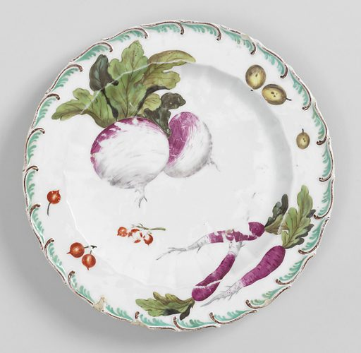 Scalloped circular form with brown and aqua foliate scroll. Foliage includes a radish, a peach, red and black currants, cucumbers and vines. Date: 1750s. Record ID: chndm_1955-163-5.