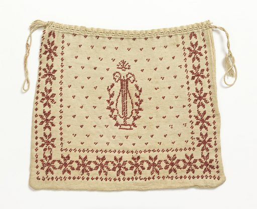 Rectangular bag of white knitted cotton with drawstring top. Design in red beads of a lyre in a dotted field, surrounded on three sides by a border of stylized rosettes. Made in: France. Date: 1800s. Record ID: chndm_1957-180-13.