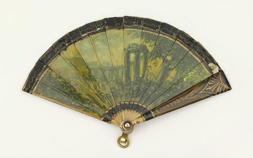 Miniature brisé fan. Painted and gilded ivory sticks. Obverse: landscape with figures in tones of green and gold. Reverse: ruins in a landscape. Guards painted black, red and green. Paper ribbon. Rivet is set with a stone. Gilded metal bail. Date: 1800s. Record ID: chndm_1958-140-4.