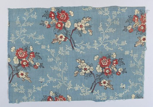 Pale blue ground with a background of a small vine pattern reserved in white, possibly by discharge. Overprinted by block in a pattern of flower clusters in red, dark brown and dark green. Made in: France. Date: 1800s. Record ID: chndm_1960-79-45.