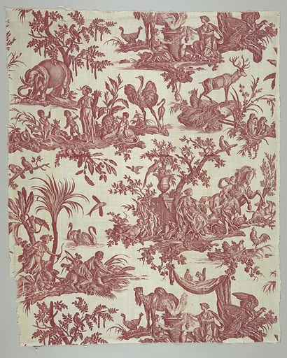Textile printed in red on white showing design of the four continents. Made in: Jouy, France. Date: 1780s. Record ID: chndm_1961-35-1.