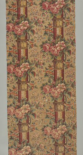 Narrow pillars banded with acanthus leaf capitals are festooned with clusters of large red flowers. Smaller groups of flowers appear between the columns. Foliage is blue printed over yellow to make green. Made in: England. Date: 1800s. Record ID: chndm_1967-20-42.