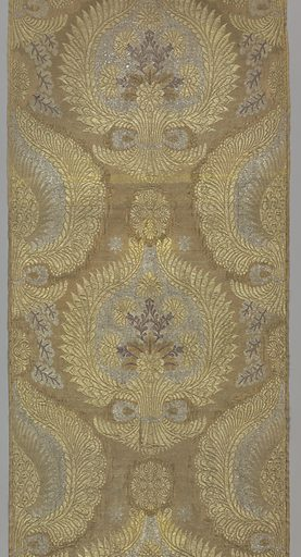 """Three lengths of fabric to form vestment. Floral branch contained in wreath-like ogee in silver, gold and red on a gold background in an """"ottoman style."""". Made in: possibly Russia. Date: 1800s. Record ID: chndm_1967-20-44-a."""