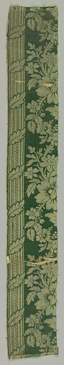 Ivory pattern on green ground with a design of a continuous floral vine between two columns decorated with a spiraling leaf. Made in: Europe. Date: 1800s. Record ID: chndm_1968-135-18-a_b.