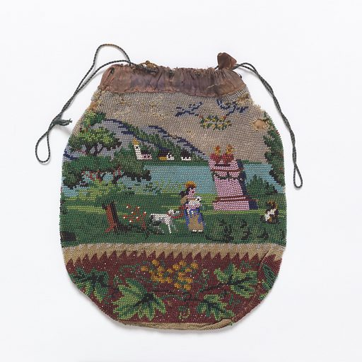 Drawstring pouch with pictorial scene of a lake, mountains, and people in a park, bordered by grapes and leaves. Lined with tan cotton. Made in: England. Date: 1800s. Record ID: chndm_1968-135-44.