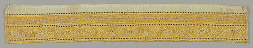 Border in a stylized floral design with cutwork embroidery in yellow. Sicilian filet insertion on one side. Made in: Balkans. Date: 1800s. Record ID: chndm_1969-86-2-e.