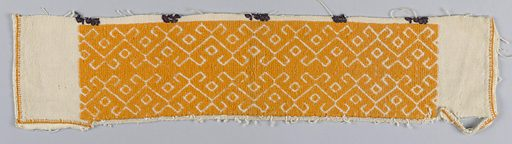 Band solidly embroidered with yellow-orange cotton in a simple geometric pattern. The border has been cut from a blouse on which there are traces of black embroidery. Made in: Balkans. Date: 1800s. Record ID: chndm_1969-86-4.