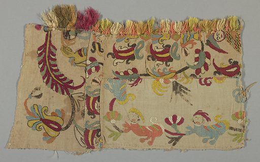 Fragment showing fantastic animals, flowers and a human figure in multicolored silk on a natural ground. Made in: Skros, Greece. Date: 1800s. Record ID: chndm_1971-50-133.
