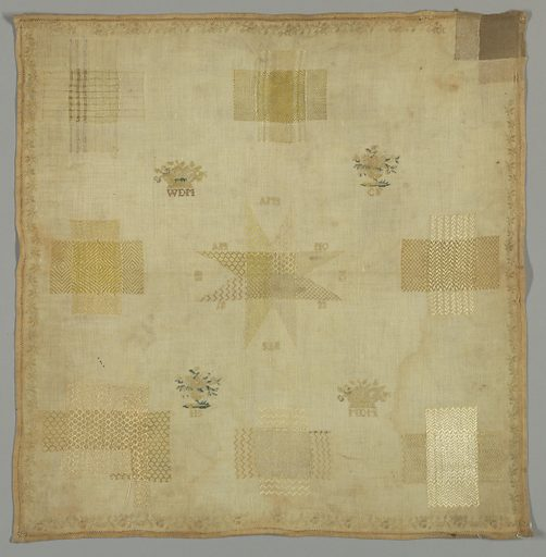 Darning sampler, very faded, with eight square holes filled with pattern darning in various weaves, and one corner tear. Made in: Netherlands. Date: 1800s. Record ID: chndm_1971-50-187.