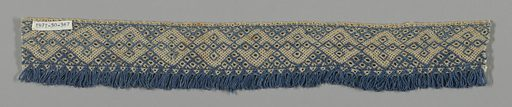 Band with continuous diamonds and looped fringe edge in blue and natural linen. Made in: possibly Russia. Date: 1800s. Record ID: chndm_1971-50-367.