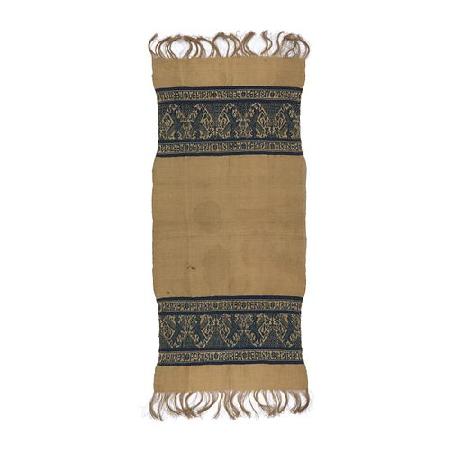 """At each end of the rectangular bast fiber diamond-twill towel, a blue cotton band with griffons alternating with a symmetrical geometric tree. The band is bordered at top and bottom by the repeated words """"Perugia"""" alternately in mirror image. Warp fringe at end about 10.2cm or 4"""" long. Made in: Italy. Date: 1800s. Record ID: chndm_1972-6-10."""