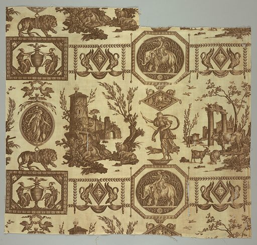 Classical figures in medallions and plaques depicting domestic scenes with cows and Diana with her dog. Brown on white. Made in: Jouy, France. Date: 1800s. Record ID: chndm_1975-60-51-a.