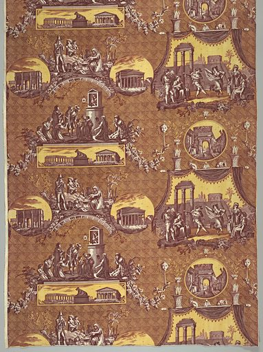 Scenes of Rome printed in purple and yellow. The scenes shown are the Pantheon, Arch of Constantine, Arch of Titus, dancers in the Form, pipers playing before a shrine of the Virgin, statue of the she-wolf suckling Romulus and Remus. Selvedge to selvedge. Made in: Jouy, France. Date: 1820s. Record ID: chndm_1978-140-4.