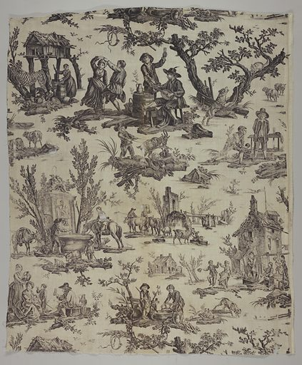 Assorted pastoral scenes including a couple dancing to a lute player and a horse drinking from a well. The line where the plate stops is just above the dancing couple and lute player. Lengths would repeat as a half drop repeat when sewn together. Edge of plate is visible at right. Made in: Jouy, France. Date: 1790s. Record ID: chndm_1980-34-9.