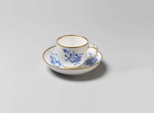 Cup and saucer with blue floral decoration. Gilding at rims. Date: 1770s. Record ID: chndm_1942-25-20-b_d.