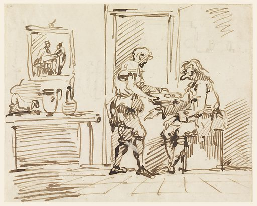 "Inside of a room; near the door sits an old man, to whom another offers a plate of food. At left, a picture hangs on the wall above what is a chimney piece or a table. Upon it is a dog and two pitchers. On verso: a part of a plan and written vertically, in ink: ""sempre p..mi"" and ""Ancona"" four times, and ""Roma"" twice. Made in: Italy. Date: 1720s. Record ID: chndm_1901-39-1978."