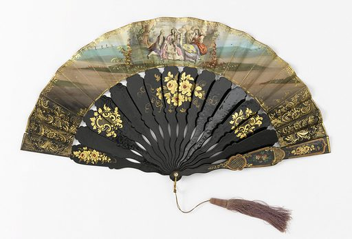 Printed lithographic fan with hand-colored and gilded paper, and sticks of lacquered papier maché. Scene shows a country dance with costumes in the style of the 17th century. Sticks are decorated with painted floral decoration and motifs in gilt. Made in: France. Date: 1840s. Record ID: chndm_1916-29-121.