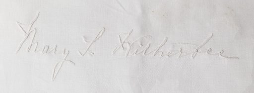 Damask tablecloth with embroidered signatures of the guests in the position they sat at the table, including Ignace Jan Paderewski and dated 1896. Made in: USA. Date: 1900s. Record ID: chndm_1979-22-2-a.