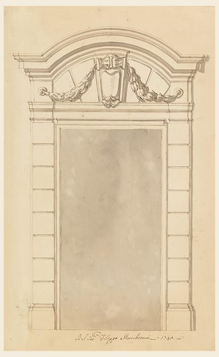 Door case with a circular pediment with straight lateral parts. Inside is a console, supporting festoons together with round plates in the frieze above the capitals. Made in: Italy. Date: 1730s. Record ID: chndm_1901-39-2163.