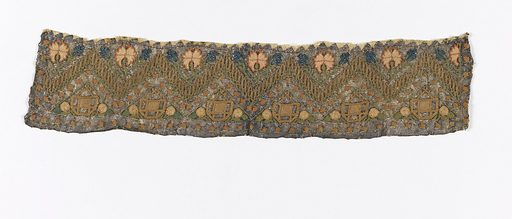 Strip of embroidery, probably a towel end, with a zigzag design, has pink carnations and small blue flowers above and stylized basket shapes below. Made in: Turkey. Date: 1800s. Record ID: chndm_1901-27-1-b.