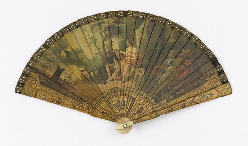 "Brisé fan. Painted ivory sticks. Obverse: figures of man and woman in landscape. Gorge and borders in ""Vernis Martin"" style, showing floral motifs within miniature cartouches. Reverse: landscape without figures. Rivet is set with a faceted stone. Fan case has removable lid. Date: 1900s. Record ID: chndm_1953-17-157-a_b."