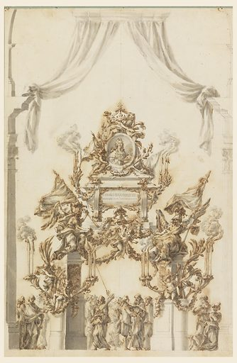 Two winged genii, symbolizing death, sit on pilasters supporting a sarcophagus to Carl Emanuel III. Pedestals on either side support two candle brackets with burning candles and two putti. Above, a broken pediment supports a putto sitting at left and holding a medallion of the King. Two additional putti support the crown. All is adorned with festoons and swags. Below are groups of men, of whom one is extinguishing a candle and another is walking with new lights. At right, two women appear, one running and the other accompanied by a dog. Made in: Rome, Italy. Date: 1770s. Record ID: chndm_1901-39-1551.