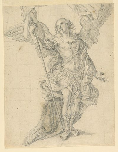 The Archangel Gabriel, seen frontally, his gaze directed to the upper left, and holding a banner standard in his right hand, while gesturing toward the ground with his left. Drawing squared off in graphite for enlargement. Made in: Italy. Date: 1700s. Record ID: chndm_1959-49-256.