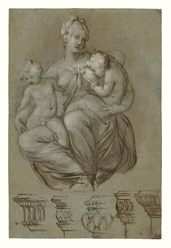 Charity and Studies of Entablatures (recto); Frieze of Putti (verso). Date: about 1580. Culture: Italian. Object number: 90.GA.67.