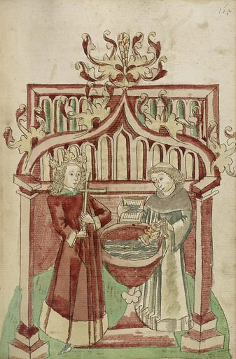 Josaphat before the Baptismal Font with a Tonsured Cleric. Barlaam und Josaphat. Date: 1469. Culture: Alsatian. Object number: Ms. Ludwig XV 9 (83.MR.179), fol. 165.