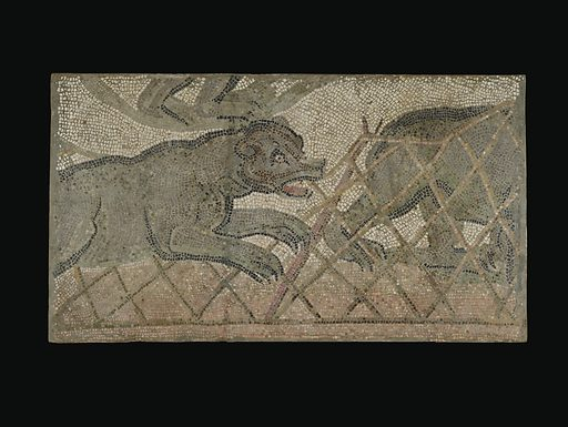 Mosaic Floor Panel. Fragmentary Mosaic Floor with Bear Hunt. Date: 4th century AD. Culture: Roman. Object number: 72.AH.76.13.