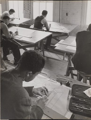 Four men sketch at drafting tables. Pictorial Presentation. NYA Work Experience Activities in New York City. Produced by NYA Photography Workshop. Director Arnold Eagle. Date: about 1940–1942. Culture: American. Object number: 84.XB.204.22.