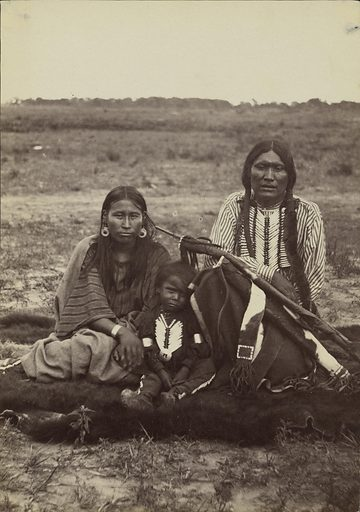Arapaho Chief Powder Face, his Squaw, and their Son. Date: 1868. Culture: American. Object number: 84.XM.192.12.