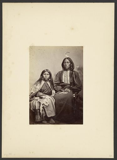 Kiowa Chief, Tomeatho [Trailing the Enemy, Eonah-pah] and Squaw, [Probably the Oldest daughter of Satanta]. Date: 1869–1874. Culture: American. Object number: 84.XM.192.15.