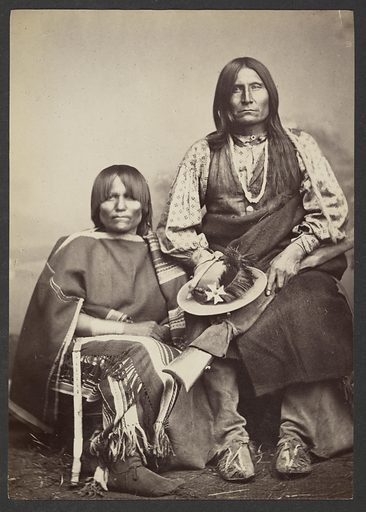 Kiowa Chief Trotting wolf [Gu-ee-ah-pay, Coyote Walking] and Squaw. Date: 1869–1874. Culture: American. Object number: 84.XM.192.22.