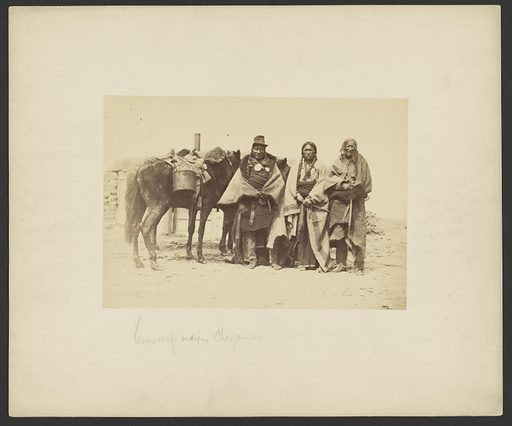 Three Braves [Custer's Sweetwater Hostages]. Date: March 1869. Culture: American. Object number: 84.XP.772.2.
