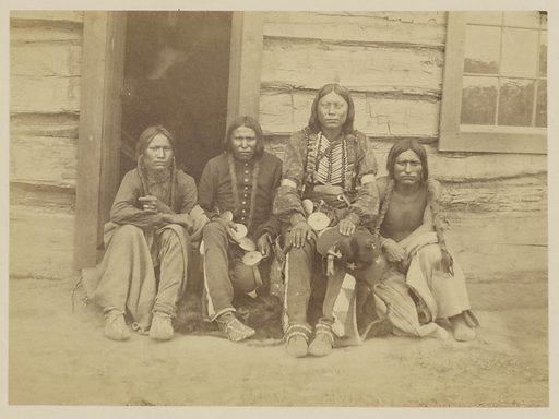 Four Arapahoes, possibly Arapaho Chief Walk-u-betta and Members of his Band. Date: 1868. Culture: American. Object number: 84.XP.785.3.
