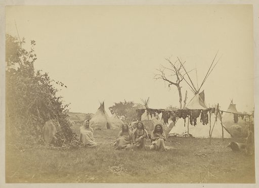 Drying Buffalo Meat [Arapaho Village]. Date: 1870. Culture: American. Object number: 84.XP.785.7.