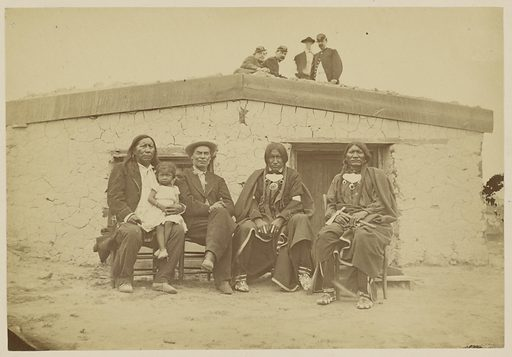 Little Raven, Chief of the Arapahoes, and [William] Bent, the Oldest Pioneer of the Plains, Officers of the 3rd [cavalry] on Top of the House. Date: 1867–1875. Culture: American. Object number: 84.XP.785.8.