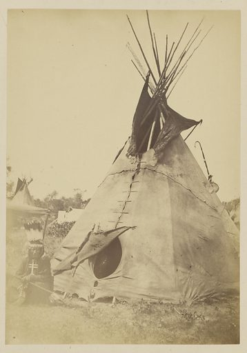 Little Big Mouth and Teepee, near Fort Sill. Possibly a Cheyenne Camp. Date: 1869–1874. Culture: American. Object number: 84.XP.785.11.