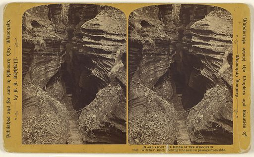 Witches' Gulch looking into narrow passage from side. [Wisconsin Dells]. Date: about 1870–1890. Culture: American. Object number: 84.XC.873.3388.