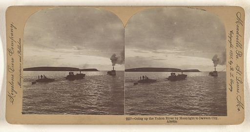 Going up the Yukon River by Moonlight to Dawson City, Alaska. Date: 1898. Culture: American. Object number: 84.XC.979.6197.
