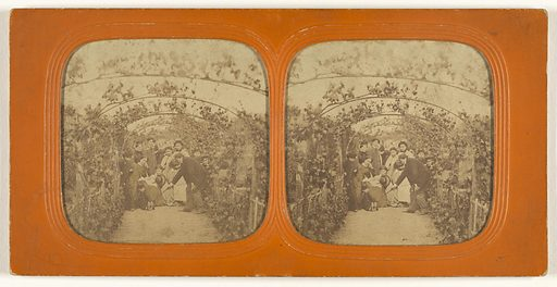Group of people under a series of grape vines. Date: 1855–1860. Object number: 84.XC.979.9639.