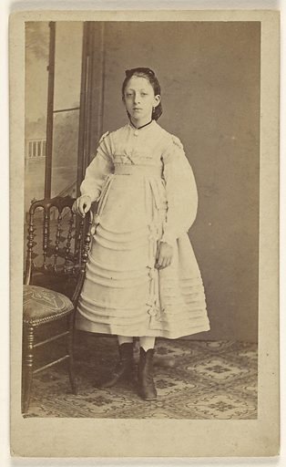 Unidentified woman, standing. Date: 1865–1870. Culture: French. Object number: 84.XD.1157.459.