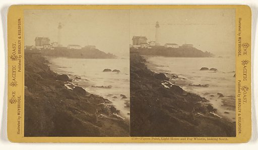 Pigeon Pt., Light House and Fog Whistle, looking South. Date: about 1860s–1870s. Culture: American. Object number: 93.XC.13.12.