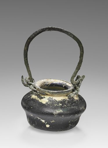 Miniature pot with bronze handle. Date: 1st–2nd century AD. Culture: Roman. Object number: 2003.384.